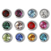 Studex piercing birthstone earrings, Ø 4 mm, bezel setting