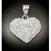 Heart pendant with zircons, 925 silver